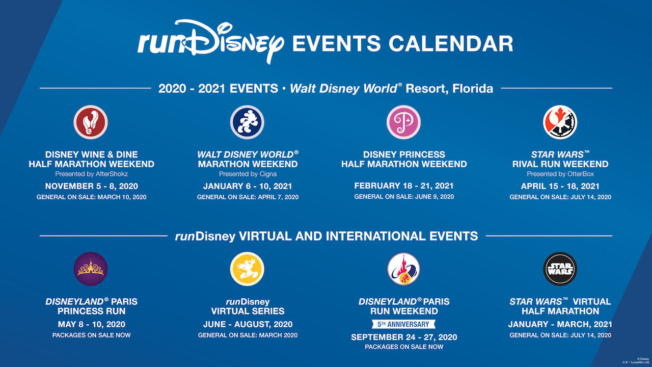 runDisney 2020-2021 event calendar